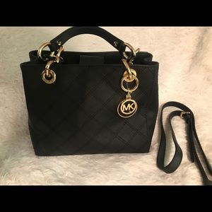 Black small MK purse with double gold handles